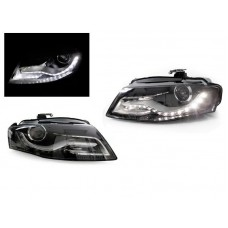 DEPO 09-12 Audi A4 B8 RS4 Style LED Strip DRL Style Projector Black Headlights