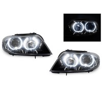 DEPO 09-11 BMW E90/E91 F30 Style V3 LED U Ring Square Bottom Angel Eye Headlight