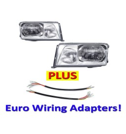 NEW DEPO 86-93 Mercedes-Benz W124 Euro Glass Headlights Set + Wiring Adapters