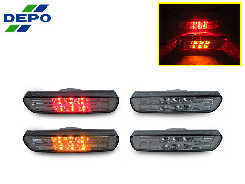 DEPO Smoke Front or Rear Red LED Bumper Side Marker Light For 99-03 Lexus RX300