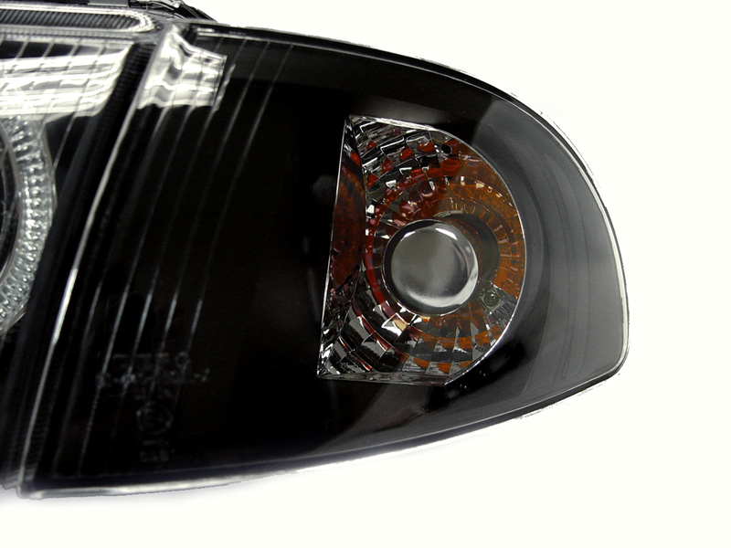 Depo Euro Black Housing Angel Eye Headlight Clear Corner