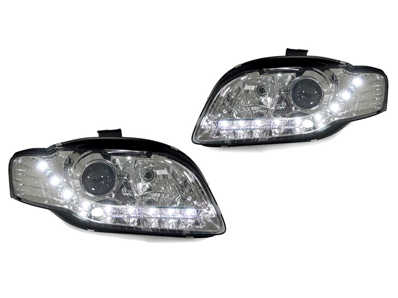 For 06-08 Audi A4 LED Strips Projector Chrome Headlights+LED Fog Lamps