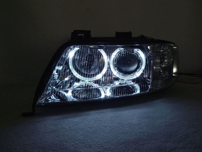 White LED Halo Blk D2S HID Projector Headlight For 02-04 Audi A6 C5