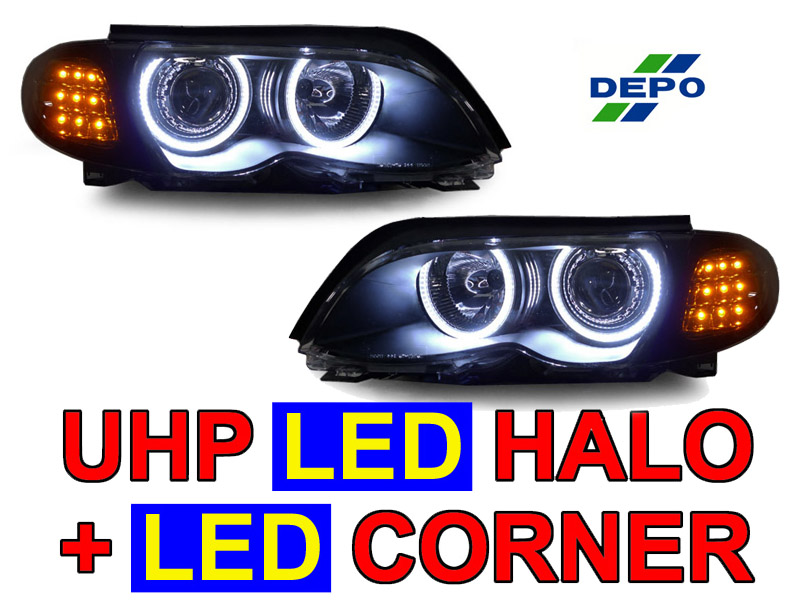 DEPO LED Angel Xenon HID Headlight+Clear Amber Corner Light For 02 ...