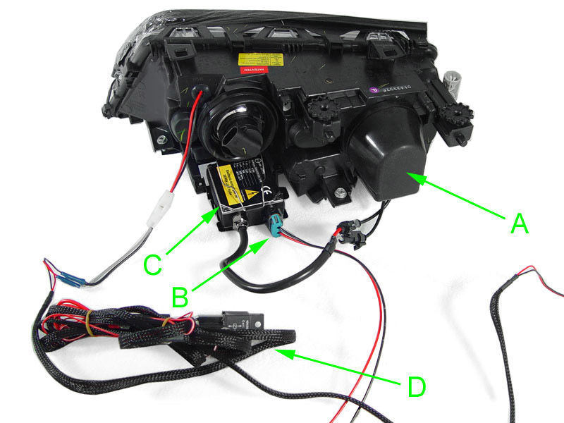 depo uhp led angel halo d2s hid projector headlight for 2002 06 e46 rh ebay com GM Headlight Switch Wiring Diagram Sealed Beam Headlight Wiring Diagram