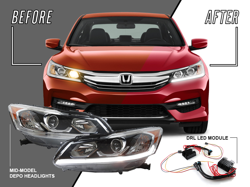 Details about LED DRL Headlight + Adapter Harness Module For 16-17 on