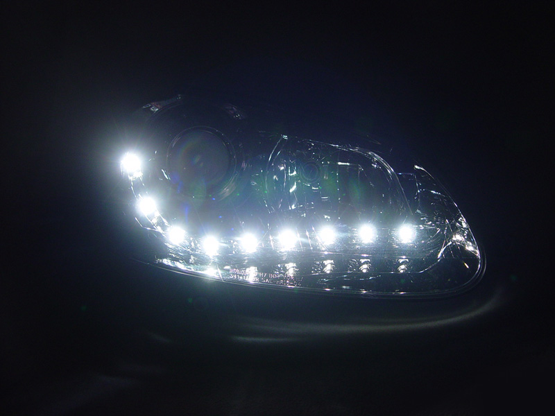Depo R8 Drl Led Projector Chrome Headlight 05 10 Vw Jetta