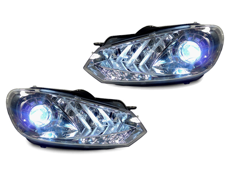 Depo Light Bar Led Drl Chrome Bi Xenon Hid Headlight For